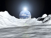 Moon View 52. An image of the earth from a view from the lunar mountain landscape. With added sun effect vector illustration