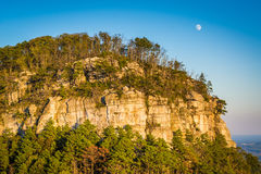 The moon and view of the Big Pinnacle of Pilot Mountain, seen fr. Om Little Pinnacle Overlook at Pilot Mountain State Park, North Carolina royalty free stock photos
