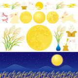 Moon viewing. Tsukimi : the custom of viewing the full moon Stock Illustration