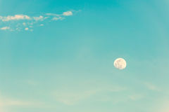 Moon. Vintage abstract background of moon in the sky with cloudscape. Copy space Stock Photos