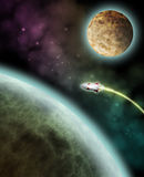 Moon Voyage. Image of rocket ship flying to the Moon Stock Image