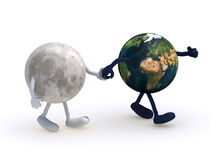 Moon walk with earth. The moon walk with planet earth, 3d illustration Stock Photos