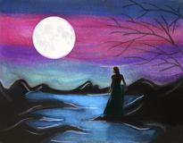 Moon watcher. Female watching moon against pink sky stock illustration
