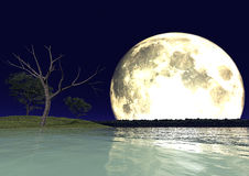 Moon and water Royalty Free Stock Photo