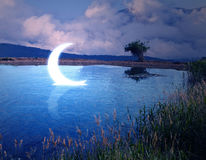 Moon in water stock images