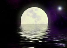 Moon and water reflection Royalty Free Stock Photos