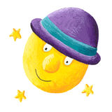 Moon wearing purple hat Stock Image