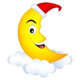 Moon wearing a santa hat Stock Photography