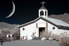 Moon and Western Church Royalty Free Stock Image