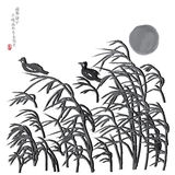 Moon wind grasses bird image Royalty Free Stock Image