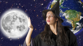 The moon and witch Royalty Free Stock Photo