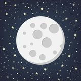 Moon With Stars In Flat Dasign Style. Vector Illustration. Stock Photography