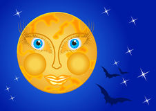 Moon woman in the night sky with stars and bats Stock Image