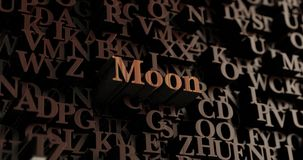 Moon - Wooden 3D rendered letters/message Royalty Free Stock Photography