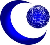 Moon and world globe royalty free illustration