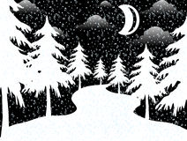 The moon in xmas night. Image of The moon in xmas night royalty free illustration