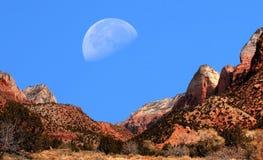 Moon Zion National Park Royalty Free Stock Photos