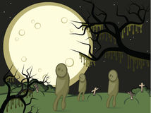 Moon and zombis. Halloween. Gloomy night. A full moon. On a cemetery zombies wander Royalty Free Stock Image