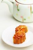 Mooncake с чайником стоковое изображение