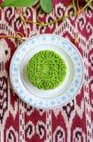 Mooncake - anstrykning för grönt te Arkivbilder