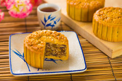 Mooncake for Chinese mid autumn festival foods. The Chinese word. S on the mooncakes means assorted fruits nuts, not a logo or trademark royalty free stock photography