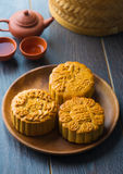 Mooncake for Chinese mid autumn festival foods. The Chinese word Royalty Free Stock Image