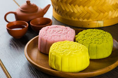 Mooncake for Chinese mid autumn festival foods. The Chinese word Royalty Free Stock Photo