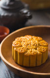 Mooncake for Chinese mid autumn festival foods. The Chinese word. S on the mooncakes means assorted fruits nuts, not a logo or trademark photo royalty free stock photography