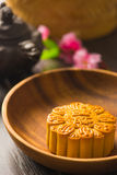 Mooncake for Chinese mid autumn festival foods. The Chinese word Stock Image