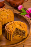 Mooncake for Chinese mid autumn festival foods. The Chinese word Stock Photos