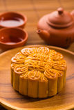 Mooncake for Chinese mid autumn festival foods. The Chinese word Stock Images