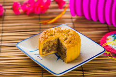 Mooncake for Chinese mid autumn festival foods. The Chinese word. S on the mooncakes means assorted fruits nuts, not a logo or trademark photo stock photography