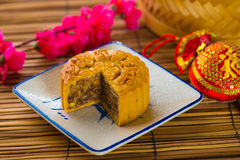 Mooncake for Chinese mid autumn festival foods. The Chinese word. S on the mooncakes means assorted fruits nuts, not a logo or trademark photo royalty free stock images