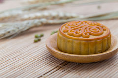 Mooncake, Chinese Midautumn festival dessert with copyspace Royalty Free Stock Images