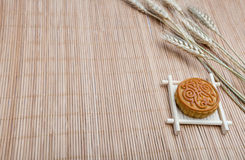 Mooncake, Chinese Midautumn festival dessert with copyspace Stock Images