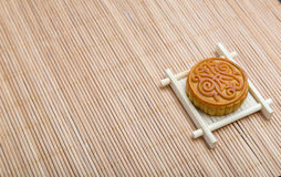 Mooncake, Chinese Midautumn festival dessert with copyspace Royalty Free Stock Photography
