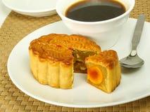 Mooncake and coffee Stock Image