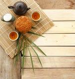 Mooncake Festival. Mooncake, Chinese mid autumn festival food on Wooden Background. Dessert Concept Stock Image