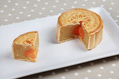 Mooncake filling stirred durian and salt eggs on gray. selective focus. Stock Image