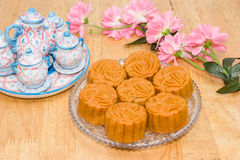 Mooncake or food for Chinese mid-autumn festival Stock Images