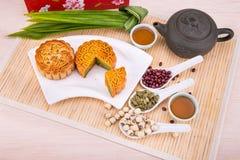 Mooncake For Chinese Mid-autumn Festival Celebration, Wih Ingred Stock Image