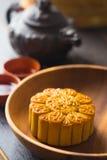Mooncake i herbata, Chiński w połowie jesień festiwal Zdjęcie Stock