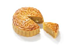 Mooncake isolated over white Stock Photography