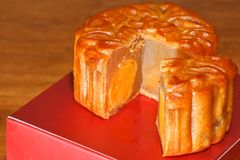 Mooncake Piece. Mooncakes are the traditional dessert made for the celebration of mid autumn festival stock image