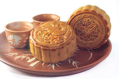 Mooncake on a plate. Ready to be eaten Stock Photography