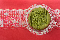 Mooncake on red. Mooncake on a red color background with chinese caligraphy Stock Image