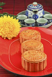 Mooncake and tea Royalty Free Stock Photos