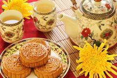 Mooncake and Tea Stock Photos