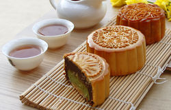 Mooncake and tea. Royalty Free Stock Photo