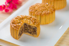 Mooncake and tea,Chinese mid autumn festival food. Stock Images